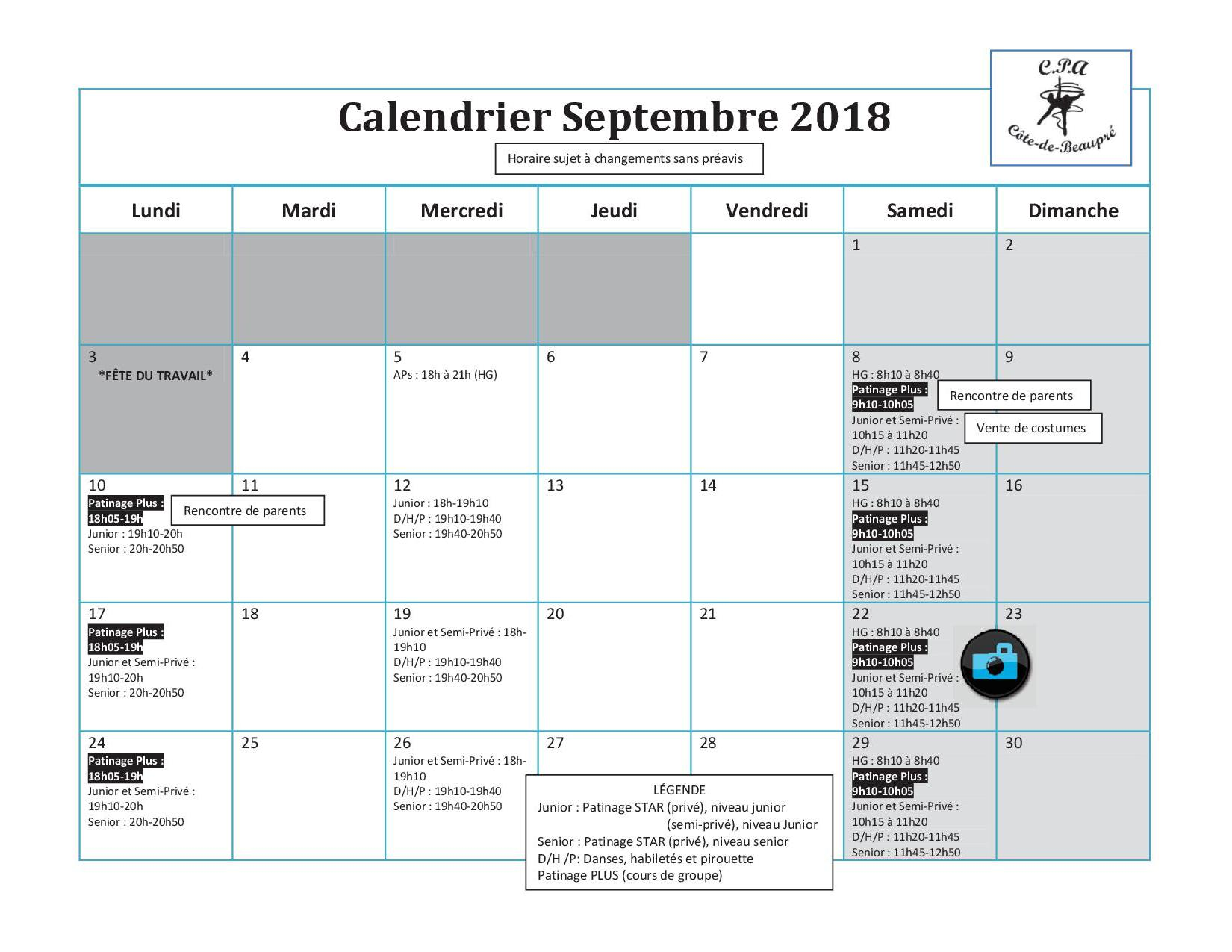 Calendrier Semi.Calendrier Septembre Cpa Cote De Beaupre