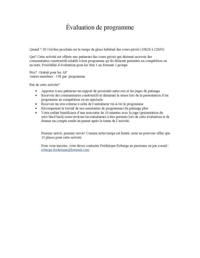journée Évaluation de programme info1