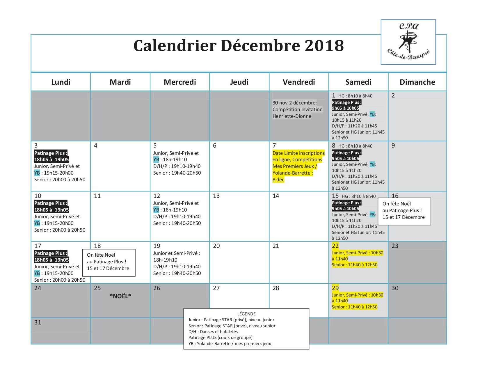 Calendrier Semi.Calendrier Decembre Cpa Cote De Beaupre