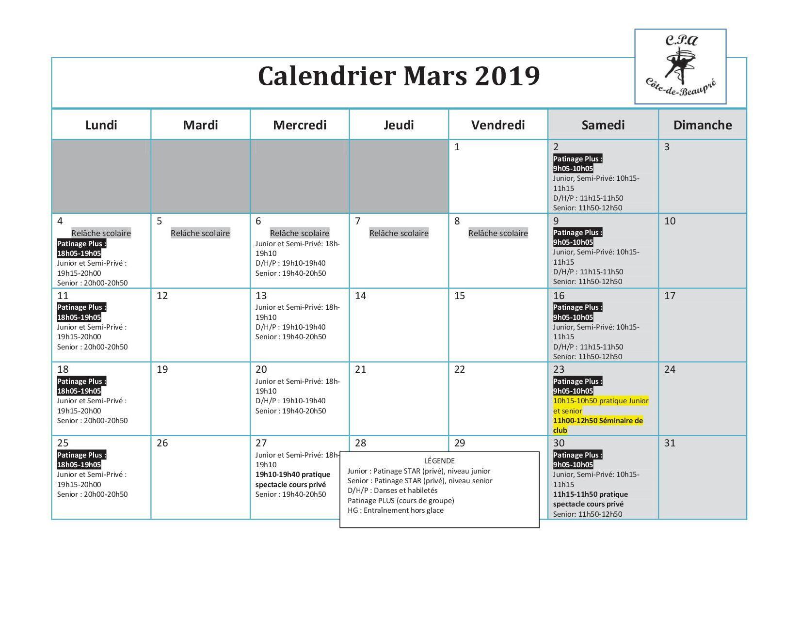 Calendrier Semi.Calendrier Mars Cpa Cote De Beaupre